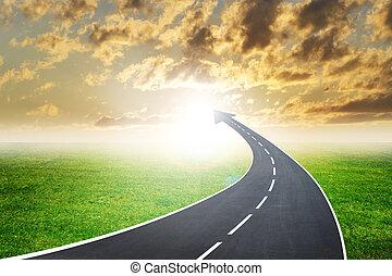 高速公路, 路, 上升, 如, an, 箭, 在, 傍晚