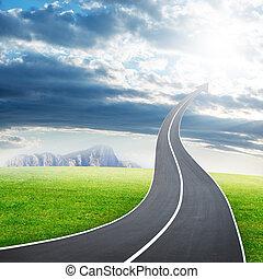 高速公路, 路, 上升, 如, an, 箭, 在, 天空