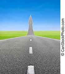 高速公路, 路, 上升, 如, an, 箭