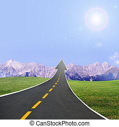 高速公路, 路, 上升, llike, 箭