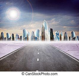 高速公路, 路, 由于, 城市