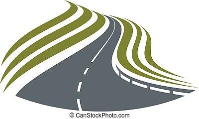 高速公路, 路, 符號, 由于, 劃分, 剝去