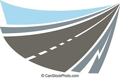 高速公路, 路, 象征, 或者, 圖象