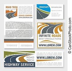 高速公路, 道路建設, 旗幟, 樣板