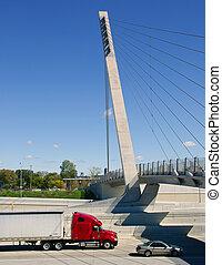 高速道路, トラック, 半, デトロイト