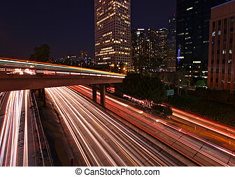 高速道路, 筋, timelapsed, ライト, アンジェルという名前の人たち, los
