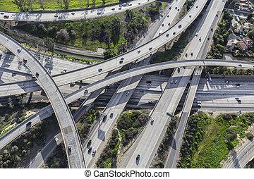 高速道路, 航空写真, カリフォルニア, 南
