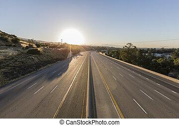 高速道路, 車線, 空, 10, 日の出