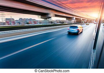 高速道路, 運転, 自動車, 動きぼやけ, 日没