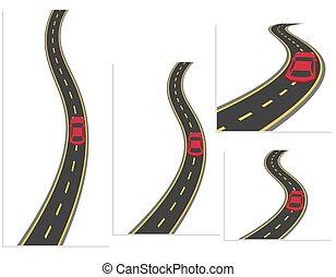 高速, 別, セット, 道, 自動車, 材料, イラスト, 車。, 道, angles., ハイウェー, design.