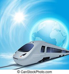 高速, 概念, 列車, 地球, sun., 背景