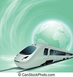 高速, 概念, globe., 列車, 緑の背景