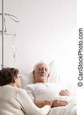 高階人, 以及, 他的, 妻子, 在, 醫院