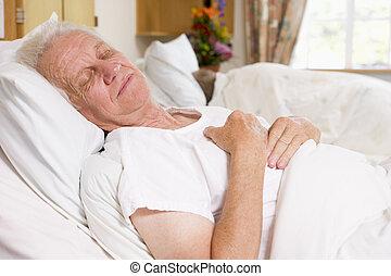 高階人, 睡著, 在, 醫院床