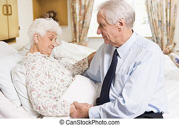 高階人, 訪問, 他的, 妻子, 在, 醫院