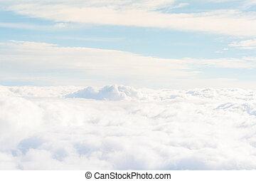 高, 天堂般, 云霧, 上面, 看法