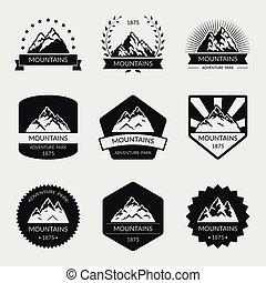 高, 山, 矢量, 集合, 標識語