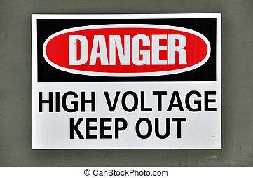 高, -, 电压, 危险