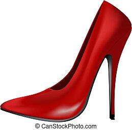 高, 紅色, 跟部, 鞋子