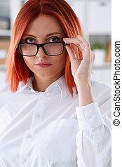 ∥髪をした∥, 女, 赤, ビジネス, ガラス