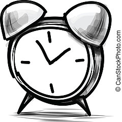 鬧鐘, 卡通, 略述, 矢量, 插圖