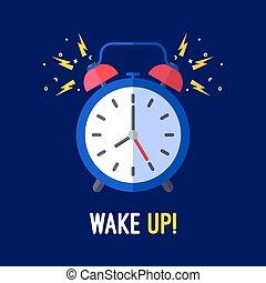 鬧鐘, 是, 敲響, 醒來, 某人, 向上。