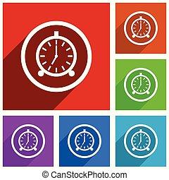 鬧鐘, 矢量, icons., 套間, 設計, 鮮艷, 說明, 為, 网, 設計者, 以及, 流動, 應用, 在, eps, 10