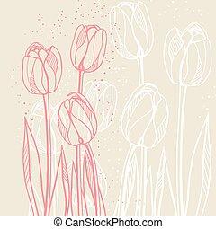 鬱金香, 摘要, 插圖, 淺褐色的背景, 植物