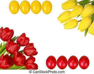 鬱金香, 框架, 黃色, 復活節蛋, 紅色