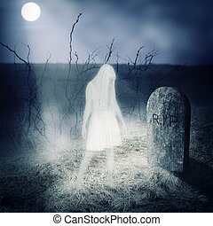 鬼, 婦女, 她, 停留, 白色, 墳墓