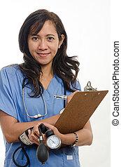 魅力的, アジアフィリピン人, 看護婦, 医者, ヘルスケアの 労働者