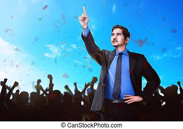 魅力的, アジア人, ビジネスマン, 寄付, スピーチ, へ, 聴衆