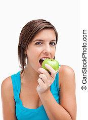 魅力的, アップル, 緑, ティーネージャー, 食べること