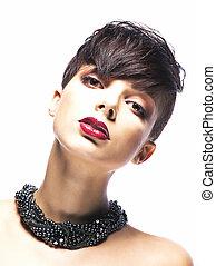 魅力的, ファッション, -, 若い女性, 肖像画, 流行, モデル