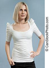 魅力的, ブロンド, 白いシャツ, 隔離された