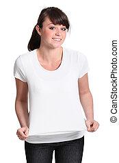 魅力的, 女の子, つらい, ワイシャツ, 若い