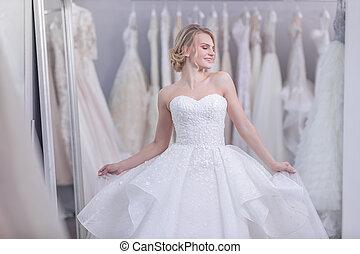 魅力的, 女の子, 服, 若い, 結婚式