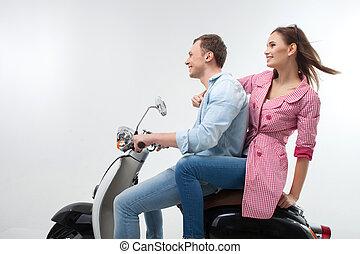 魅力的, 女, モーターバイク, 人, 若い