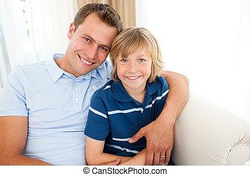魅力的, 彼の, 肖像画, 抱き合う, 父, 息子