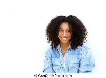 魅力的, 若い, 黒人女性, ∥で∥, 巻き毛の髪, 微笑