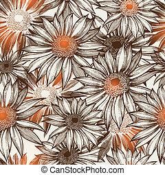 魅力的, eps10, illustration., seamless, パターン, ベクトル, 花, hand-drawing.