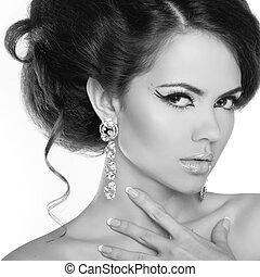 魅力, 肖像画, の, 美しい女性, モデル, ∥で∥, 構造, そして, ロマンチック, 波状, hairstyle.
