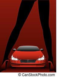 魅力, 自動車, 女の子