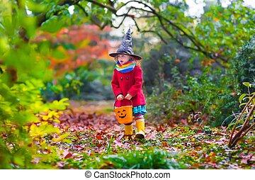 魔女, わずかしか, ハロウィーン, 女の子, 衣装