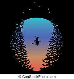 魔女, ハロウィーン, コウモリ, 月