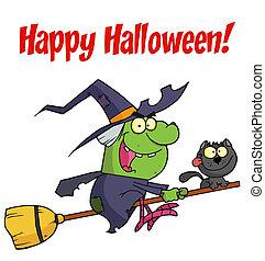 魔女, ハロウィーン, 幸せ, 緑