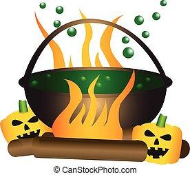 魔女, 主題, 泡立つ, ハロウィーン, cauldron.