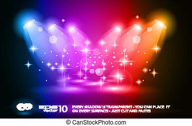 魔术, 聚光灯, 带, 蓝色, 光线