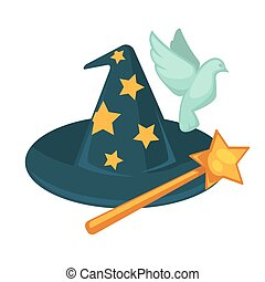 魔法の 細い棒, 鳩, 隔離された, 星, 魔女ハット