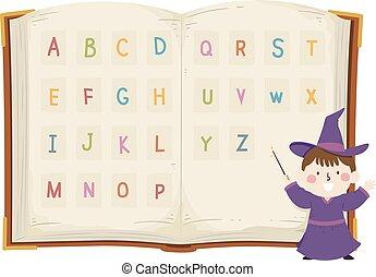 魔法使い, アルファベット, 本, 男の子, イラスト, 子供
